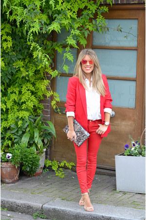 red Zara jeans - red Mango blazer