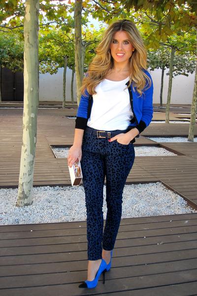 blue klein Primark cardigan - animal print Zara jeans - white Mango t-shirt