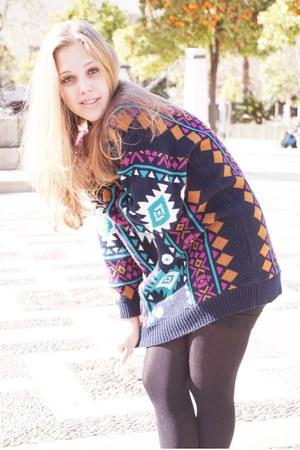 navy cotton vintage sweater - hot pink pattern sweater