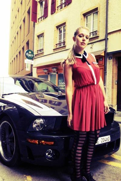 brick red Primark dress - black tights