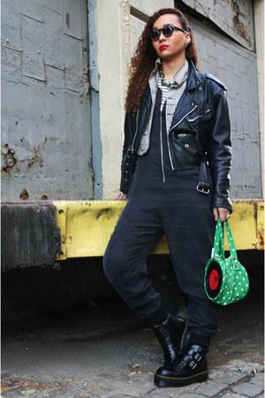 white vintage jacket - black vintage jacket - bryony Dr Martens boots