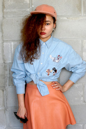 black over the knee Nasty Gal boots - light blue denim vintage shirt