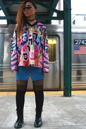 hot pink menswear mishka shirt - black punk Dr Martens boots