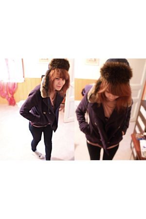 brown Springfield hat - blue Springfield coat - blue Zaza jeans - white Converse