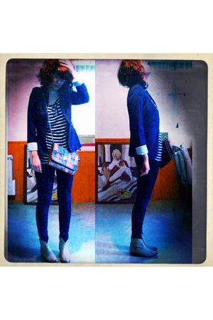 blue Zara jacket - blue Kookai t-shirt - blue Zara pants - orange Jacqueline Riu