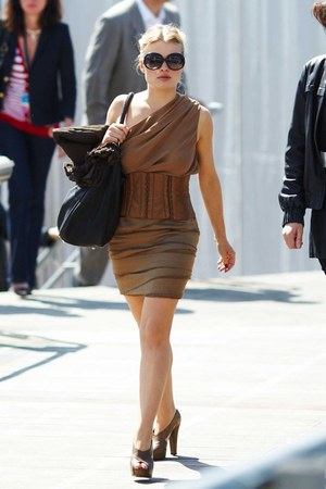 camel dress - brown belt
