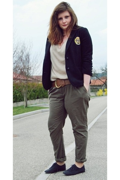 black Kazal shoes - black Kookai blazer - army green La Redoute pants
