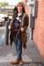 olive green BDG jacket - hot pink f21 sweater - black  t-shirt - blue  jeans - t