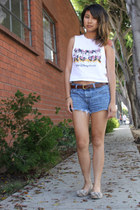 muscle tee Disney shirt - cut-off Levis shorts - leather American Apparel belt