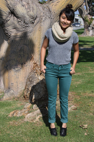 infinity scarf - v-neck BDG shirt - high waisted BDG pants
