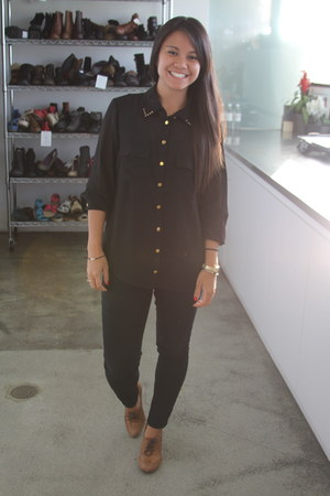 chiffon studs Forever 21 blouse - skinny jeans BDG pants - oxfords Office heels