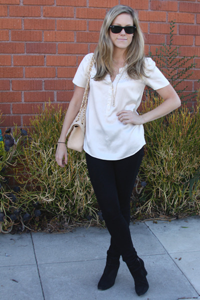 Chanel bag - Ray Ban sunglasses - J Crew blouse - citizens of humanity pants