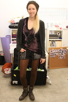 black Nasty Gal shorts - dark brown jack boot Blowfish Shoes boots