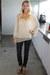 sheer cream Nasty Gal blouse - cork wedge Gypsy by Blowfish Shoes wedges - pants