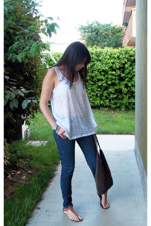 white fancy H&M shirt - blue G-Star jeans - brown Accessorize bag