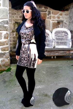 black asos shoes - black BLANCO jacket - beige Mango dress - black Primark tight