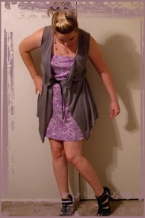 black payless shoes - Anchor Blue belt - purple Pac Sun dress - gray Target - Ho