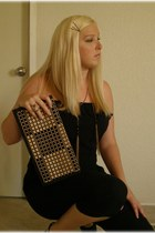 black DIY project purse - black Local Boutique jumper - gold tiger Pac Sun ring