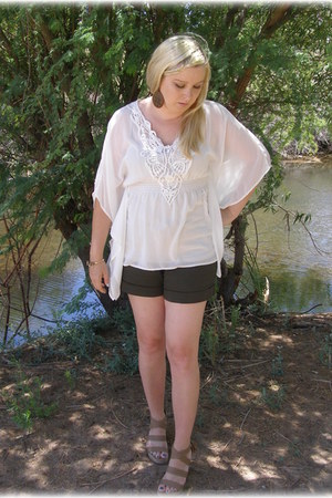army green Target shorts - white chiffon Forever 21 blouse - light brown Guess w