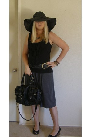 black straw Target hat - black suede  wood Payless wedges - black braided Pac Su