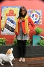 Glassons-dress-target-jacket-target-stockings-london-rebel-flats