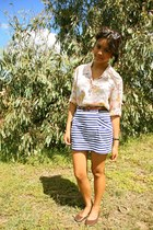 peach thrifted blouse - navy Target skirt - dark brown rubi flats - brown ebay g