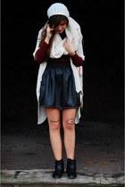 black szafapl skirt - black szafapl boots - ruby red no name sweater