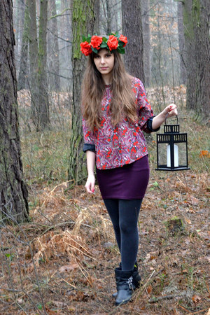 black shoelook boots - heather gray Calzedonia tights - magenta SH blouse