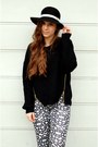 Black-diy-hat-black-tally-weijl-sweater-white-sinsay-pants