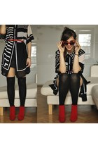 red Mergpl boots - black SH dress - red SH belt - red Allegropl glasses
