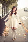 Romwe-dress-white-brown-new-look-tights-beige-andre-sandals