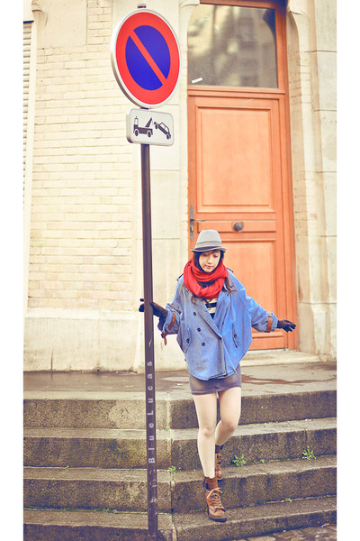 denim cape romwe cape - ankle boots romwe boots - grey Zara hat - red etam scarf