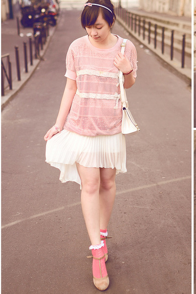 high-low Zara shirt - lace pinky asos socks