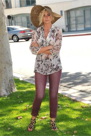 beige Blue Tassel blouse