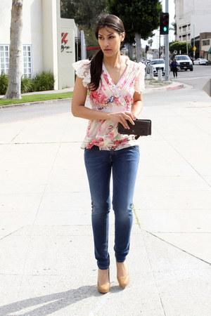 bubble gum Blue Tassel blouse