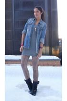 sendra boots - Monki dress - denim Nudie shirt - leopard print H&M stockings - f