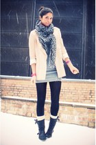 light pink Geztus blazer - heather gray Monki dress - gray Louis Vuitton scarf -
