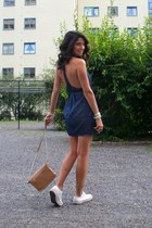 blue denim naia acne dress - white Converse shoes