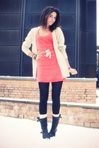 coral acne dress - cream Samse & Samse cardigan - black sendra boots - off white