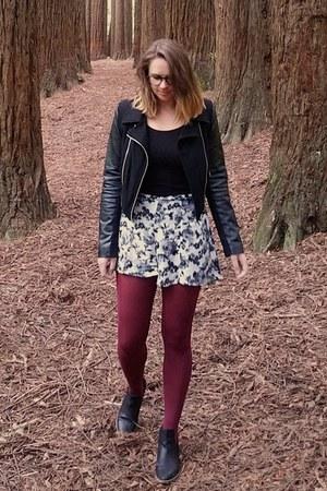 black faux leather Nordstrom jacket - black ankle Myer boots