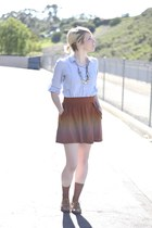 Nordstrom shirt - JCrew socks - Zara skirt - Claires necklace - vintage flats