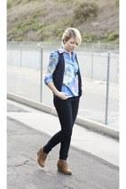 Forever 21 boots - vintage shirt - Old Navy pants - Forever 21 vest - vintage ne