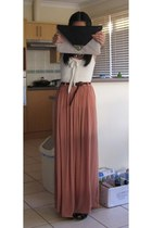 pink pleated skirt wish skirt - asos purse - white cotton Kookai top