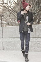 navy tweed blazer H&M blazer