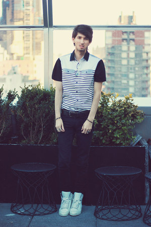 silver striped PRPGNDA shirt