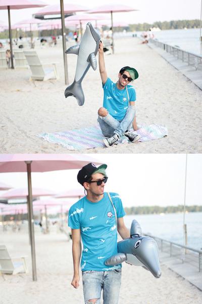 sky blue shark attack ROOK shirt