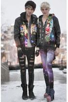psychedelic romwe jacket - galaxy print romwe leggings