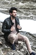 black leather moto Viparo jacket - navy nylite Tretorn sneakers