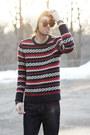 Navy-straight-leg-big-star-usa-jeans-crimson-knitted-american-eagle-sweatshirt