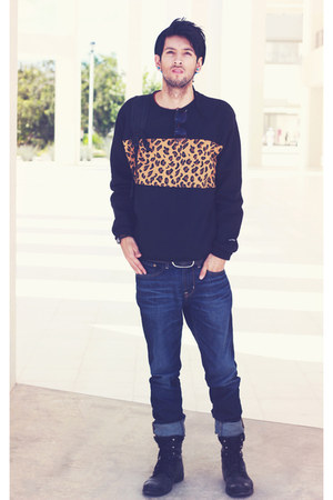 black leo print Choies sweatshirt